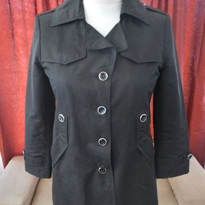 Ladies Size PXL Black Trench Coat - giacca